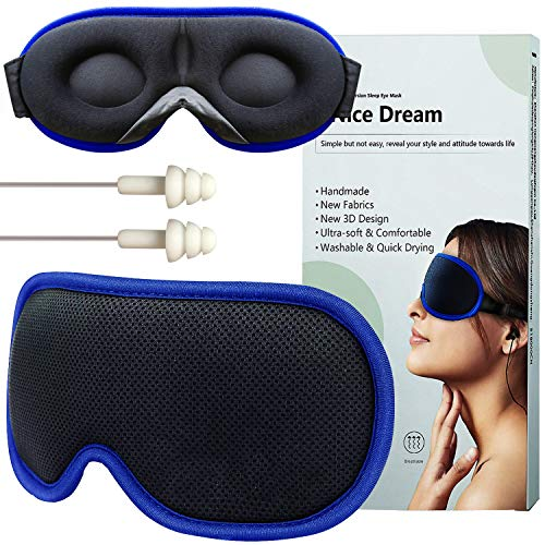 Sleep Mask,Sleeping Mask,Eye Mask for Sleeping Women & Men,Eye Covers,Upgrade 3D Design & Ultra Soft Breathable with Adjustable Strap,100% Blackout Eye Masks,Blindfold for Completely dark Hohiyo-Black