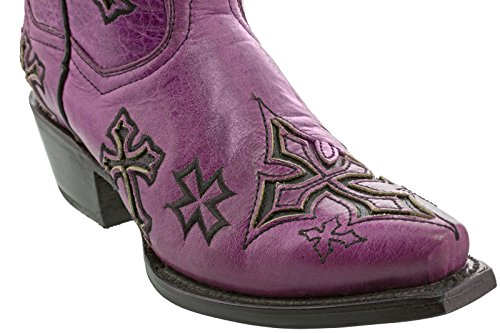 Cowboy Professionele Dames Kruis Overlay Lederen Rocker Cowboylaarzen Knip Toe Teen Paars