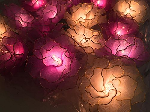 Thai Vintage Handmade 20 White, Purple Soft, Purple Carnation Flower Fairy String Lights Wedding Party Decor 3.5m/ 1 set By' Thai Decorated by Thai Decorated