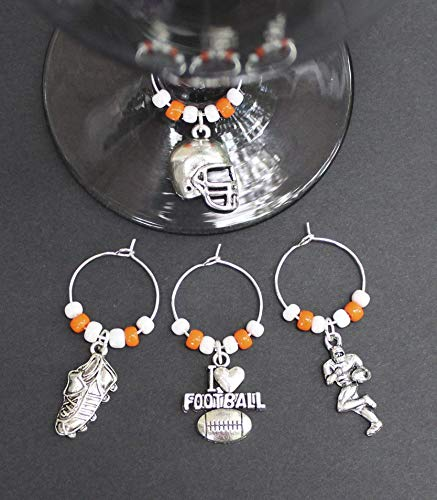 (Football-Tennessee-Wine Glass Charms-Set of 4-FTBLL001-4)
