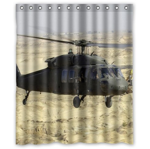 60(w)x72(L) custom cool US Military Helicopter waterproof bathroom fabric shower curtain