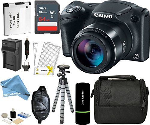 (Canon PowerShot SX420 IS Digital Camera w/ 20MP, 42x Optical Zoom, 720p HD Video & Built-In Wi-Fi + 64GB Card + Reader + Grip + Spare Battery and Charger + Tripod + DigitalAndMore Accessory Bundle)