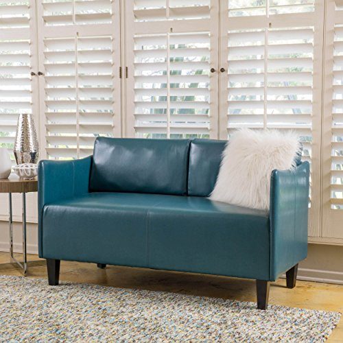 Nile Teal Bonded Leather Loveseat