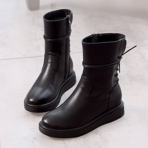 HGTYU-The Code Is Boots Women New Autumn And Winter Wild England Martin Boots Black Flat Base Plus Velvet Warm Cotton Boots Black Y0hIuyg