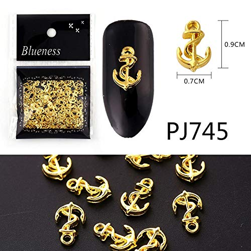(20/100Pcs Metal Gold Stick Gold Silver Copper Bee Wing Studs For Nails Design Charms Manicure 3D Nail Art Decorations PJ745-100Pcs )