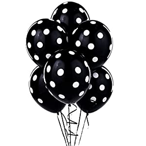 Balloons 11 Inch Premium Latex Black with White Polka Dots by PMU