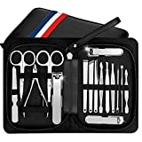Manicure Pedicure Set Nail Clippers Kit of 16Pcs, Stainless Steel Professional Grooming Kit, Facial & Hand & Foot Cuticle Remover Beauty Set, Nail Cutter Tools with Luxurious Travel Case (Black)