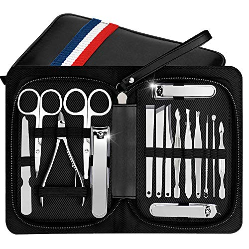 Manicure Pedicure Set Nail Clippers Kit of 16Pcs, Stainless Steel Professional Grooming Kit, Facial & Hand & Foot Cuticle Remover Beauty Set, Nail Cutter Tools with Luxurious Travel Case (Black) by Pobon