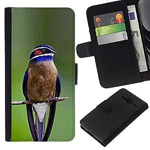 Supergiant (Blue Bird Songbird Green Branch Feather) Dibujo PU billetera de cuero Funda Case Caso de la piel de la bolsa protectora Para Samsung Galaxy Core Prime / SM-G360