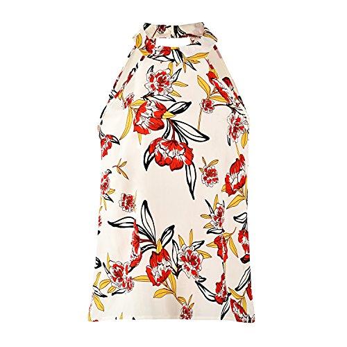 Comcrib Womens Casual Floral Printed Sleeveless Vest Shirt, Ladies Tank Top Blouse Tunic Tops Summer Beachwear T-Shirt by Comcrib