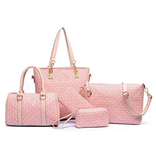 Bolso De Mano Bolsa Paquete De Cinco Piezas Hombro Diagonal Impresos Rosa