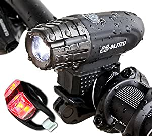 Blitzu Gator 320 USB Rechargeable Bike Light Set POWERFUL Lumens Bicycle Headlight, FREE TAIL LIGHT INCLUDED, LED Waterproof Front Light, Easy To Install for Kids Men Women Cycling Safety Flashlight
