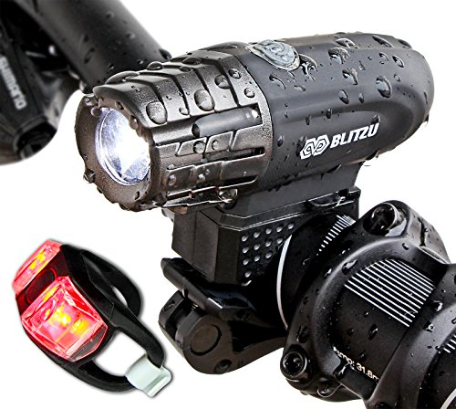 Brightest Bike Light Set USB Rechargeable, Blitzu Gator 320 Lumens POWERFUL Bicycle Headlight, FREE TAIL LIGHT INCLUDED, Best LED Waterproof Front Light, Easy To Install for Cycling Safety Flashlight