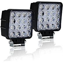 """TURBOSII 2Pcs 4"""" 48W Square Flood Cube Pods DRL Front Rear Back Up Bumper Grill LED Fog Lights For Excavator Forklift John Deere Trailers Night Fishing Trip Tall Compact Tractor 4 Wheeler"""