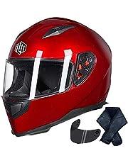 ILM Full Face Motorcycle Street Bike Helmet with Removable Winter Neck Scarf + 2 Visors DOT