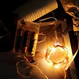 Tuscom 2M Silver Copper Wire Outdoor Solar Powered Light String|20LED 3Modes Outdoor Festival Xmas Garden Decor Lamp (3 Colors) (Beige)
