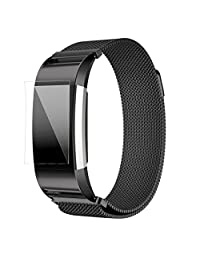 ABC Luxury Milanese Stainless Steel Watch Band Bracelet Strap + HD Film for Fitbit Charge 2 (Black)