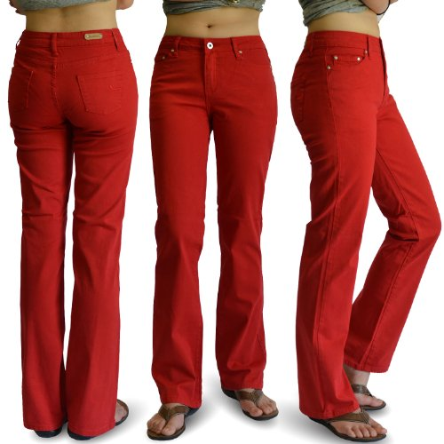 WOMENS RED COLOR DENIM STRETCH JEANS SIZE:9