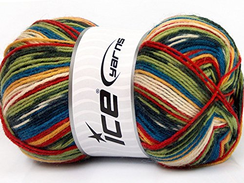 ((1) 100 Gram Super Sock, Blues, Greens, Red, Yellow, White, Black Self-Patterning Machine Washable Sock Yarn)