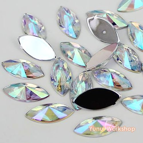 (Clear AB, 5mm x 10mm, 200pcs) Horse Eye Shape Pointed Face Acrylic Flat Back Navette Rhinestones Scrapbooking Nail Art Craft