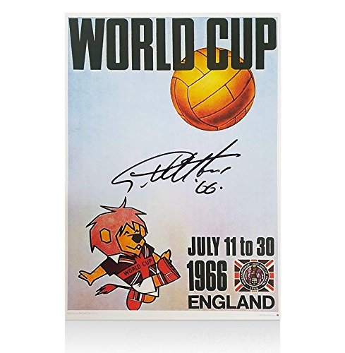 Sir Geoff Hurst Signed 1966 World Cup Poster - World Cup Willie, '66' Edition - Autographed Soccer Photos 66 Edition - Autographed Soccer Photos Sports Memorabilia