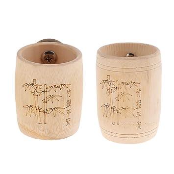 B Blesiya 2 Pcs Alimentador de Loros Bambú Recipiente de ...