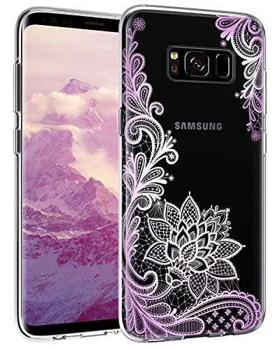 (Casetego Compatible Galaxy S8 Plus Case,S8 Plus Case with Flowers,Clear Soft Flexible TPU Shock Absorption Silicone with Floral Printed Back Cover for Samsung Galaxy S8 Plus-Purple Flower)