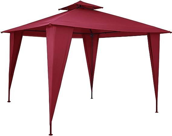 Deuba Pabellón de Jardín cenador Sairee Rojo 3, 5x3, 5m Carpa para ...