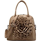 FASH Limited© Large Rose Snake Print Textured Top Handle Cross Body Handbag
