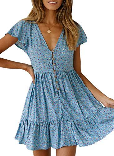 CANIKAT Women's Plus Size Summer V Neck Bohemian Floral Print Ruffle Short Sleeve Casual Swing A Line Beach Mini Dress Sky Blue XL