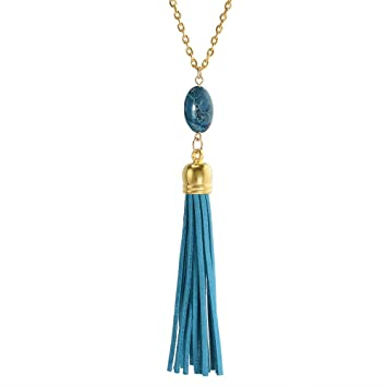 New Oval Nature Stone Velvet Leather Tassel Necklace Long Chain Pendant Necklace