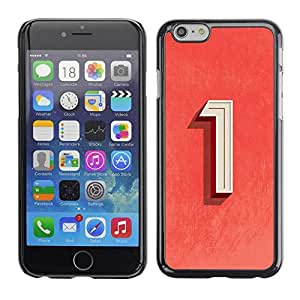 FECELL CITY // Duro Aluminio Pegatina PC Caso decorativo Funda Carcasa de Protección para Apple Iphone 6 Plus 5.5 // Number One Red White Art Symbol