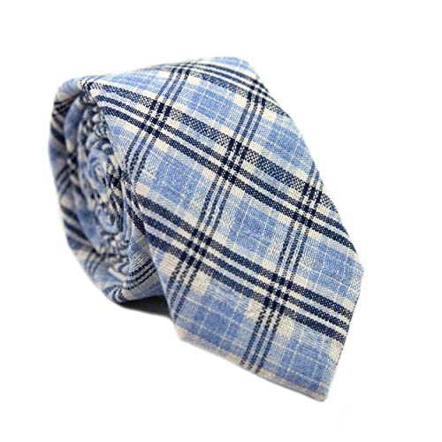 DAZI Men's Skinny Tie, Cotton Wool Linen Necktie, Great for Weddings, Groom, Groomsmen, Missions, Dances, Gifts. (Oxnard Plaid)