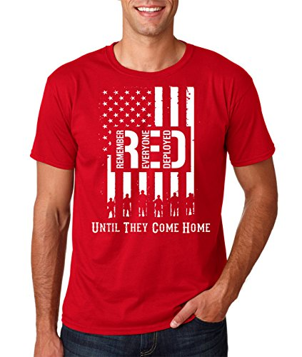 AW Fashions R.E.D. - Remember Everyone Deployed Until They Come Home Premium Men's T-Shirt (X-Large, Red)