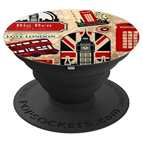 London decoupage collage retro Big Ben Bus souvenir gift - PopSockets Grip and Stand for Phones and Tablets