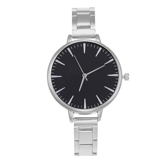Mujer Reloj Ginebra Cinturón De Acero De Aleación Correa De Acero Reloj Casual Sencillo De Pulsera: Amazon.es: Relojes