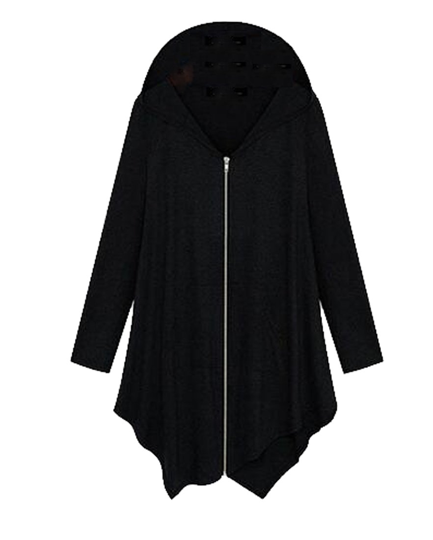 Mopatiper Women's Casual Jacket Plus Size Hooded Sweatshirt Jacket Cape Style Black 2XL