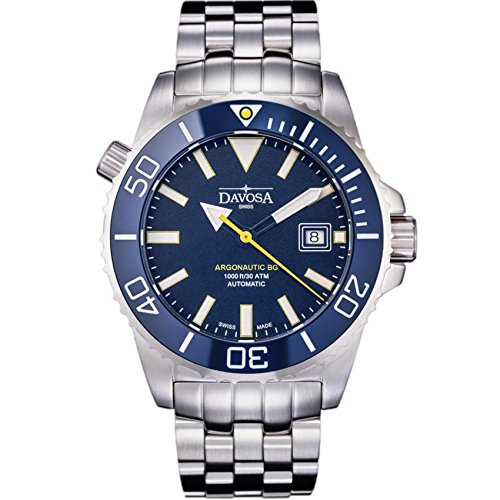 Davosa Swiss Automatic Diver's Watch - Luxury Analog Argonautic Waterproof Sport Wrist Watch for Men with Stylish Bracelet (Stainless Steel) from DAVOSA