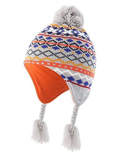 Home Prefer Infant Baby Toddler Boys Winter Hat with Earflaps Fleece Lined Kids Knit Fair Isle Peruvian Hat, M