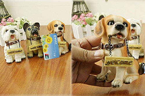 Coostyle Cute Dog Statues With Welcome Sign Decor, Resin