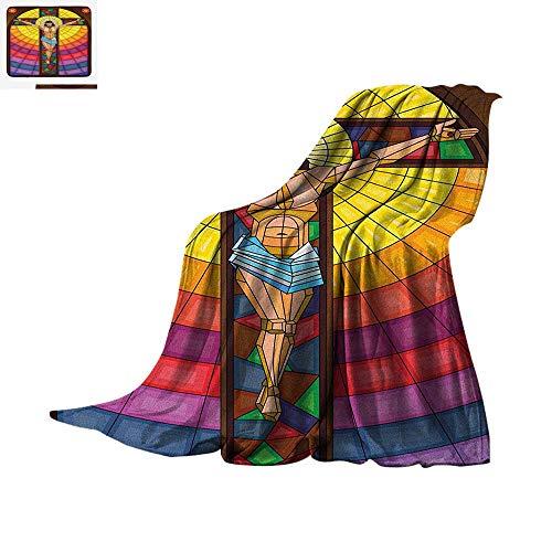 t Blanket Stained Glass Style Colorful Illustration of Spiritual Scene Artistic Display Velvet Plush Throw Blanket 62