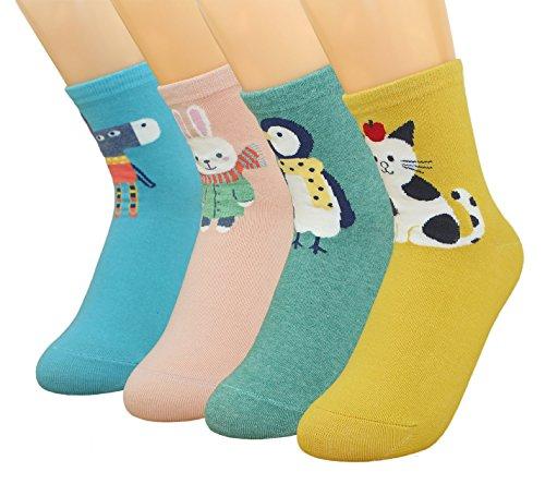 Girl Cartoon Socks,Animal Cats Dogs Pattern Cute Cotton Novelty Crew Socks 4 Pairs-Gift Idea (Animal C)