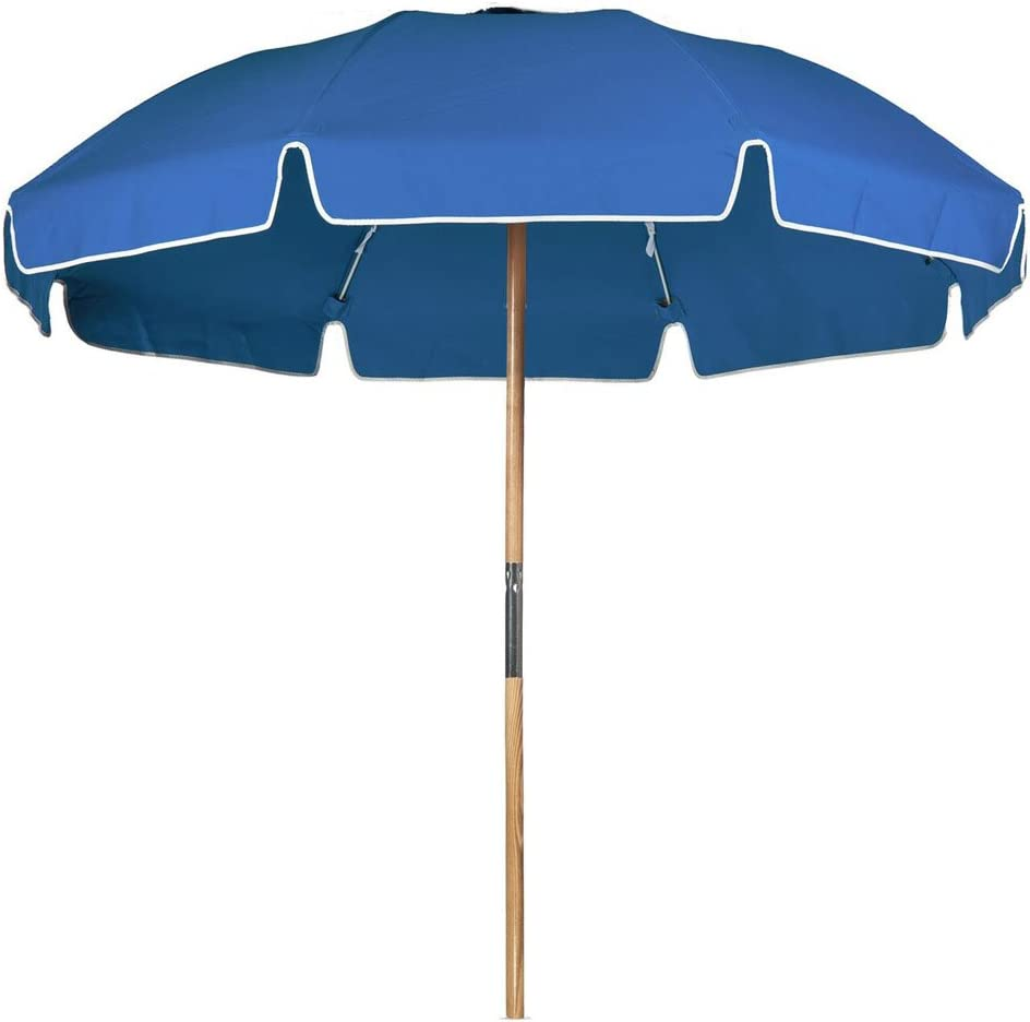 7.5 ft. Avalon Fiberglass Heavy Duty Commercial Grade Beach Umbrella with Ash Wood Pole Acrylic Fabric
