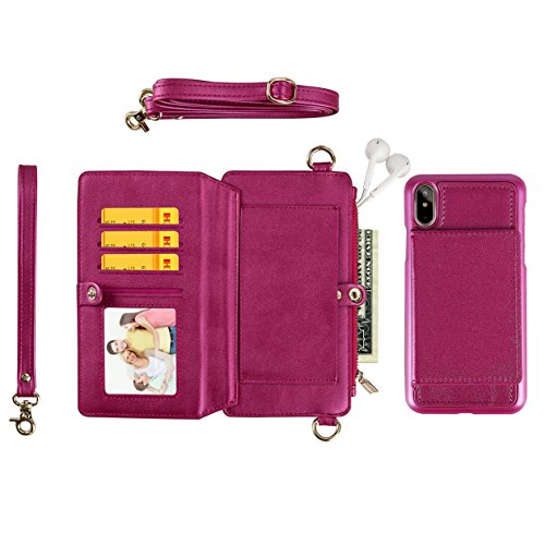 galaxy S9 case(Wine)Leather Zipper Women Wallet Fashion Hand Rope and Shoulder Rope