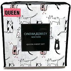 Cynthia-Rowley - Juego de sábanas, diseño de Gatos y Gatitos, Blanco, Queen