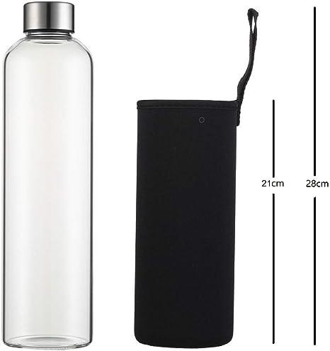 Botella Agua Cristal 1 Litro sin Bpa de Claro Borosilicato Vidrio ...