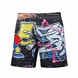 New 3D Shorts Comfortable Breathable Side Pocket Five Points Shorts Fashion Casual Quick Dry Loose Summer Beach Swim Trunks (Color : 1, Size : M)