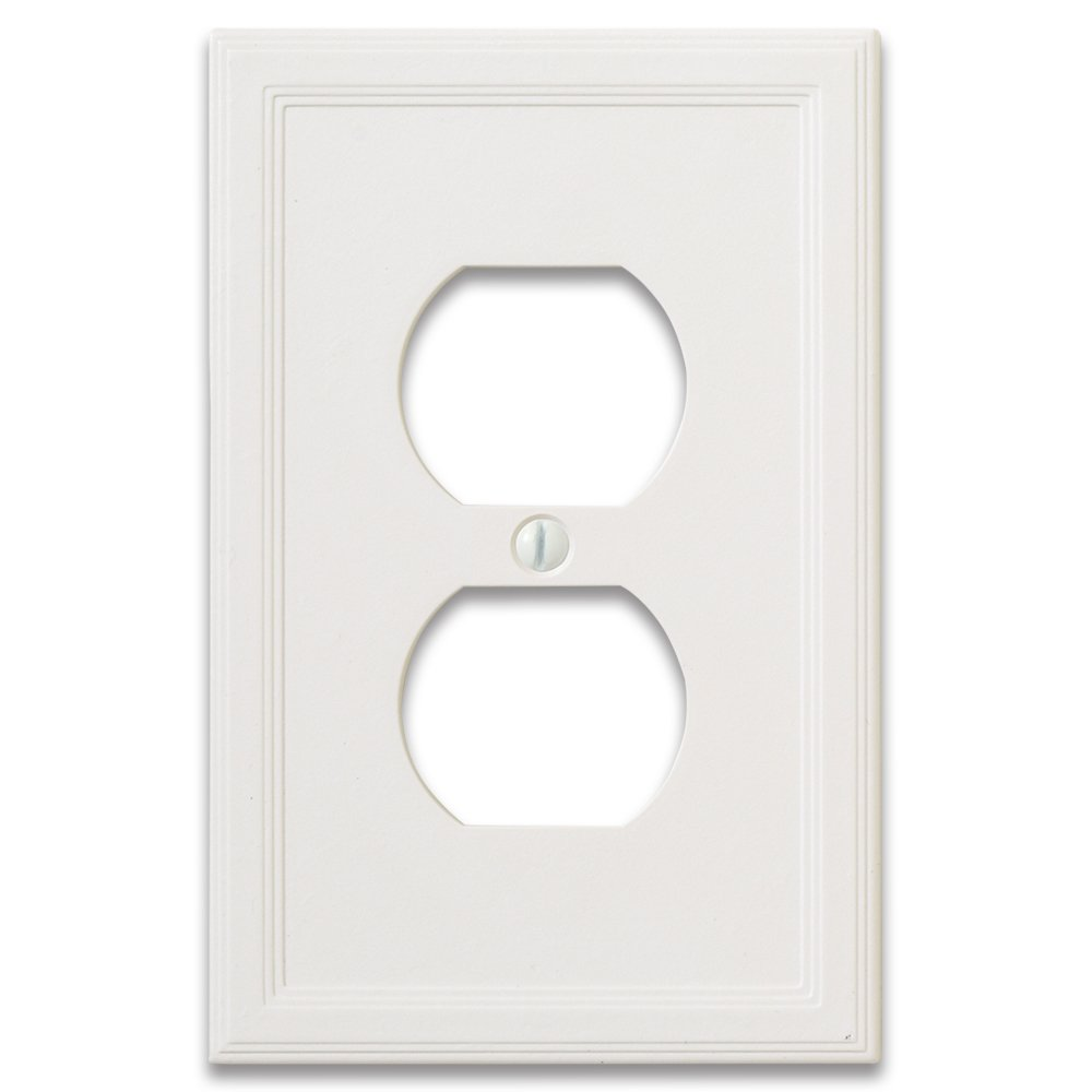 Questech Cornice Insulated Decorative Switch Plate/Wall Plate Cover - Made in the USA (Single Duplex - 3 Pack, White)