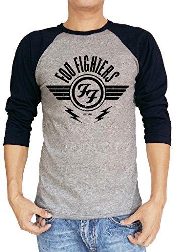 Foo Fighters FF Logo Winged Baseball Tee Raglan 3/4 Sleeve Men's T Shirt Small Heather Gray/Navy (1 Half Sleeves Cotton Shirt)
