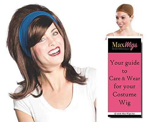 Flo Girl Florence color DARK BROWN - Enigma Wigs Progressive Stephanie Insurance Courtney Commercial Bundle w/Cap, MaxWigs Costume Wig Care Guide ()